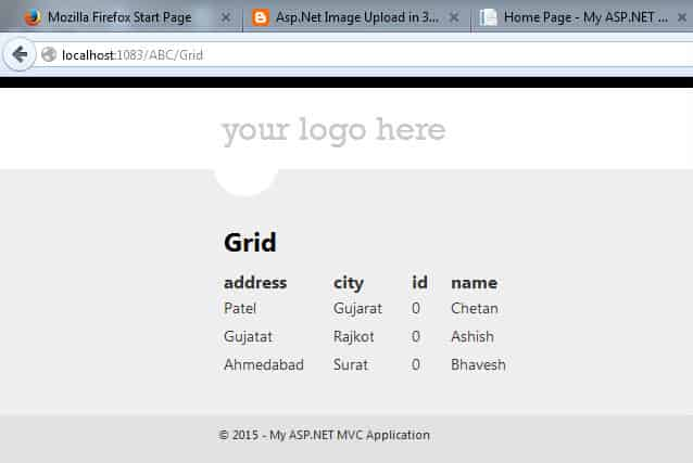 Display Data in GridView Using Asp.net MVC