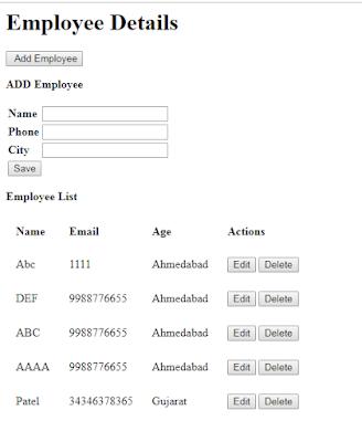AngularJS CRUD Operation Using ASP.NET MVC