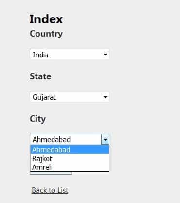 Cascading Dropdownlist using Ajax in Asp Net Mvc with city state