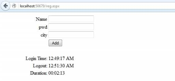 How to calculate time duration between Logintime and Logouttime in asp.net c#