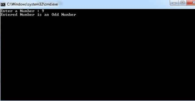 C# Program to Check whether the Entered Number is Even or Odd
