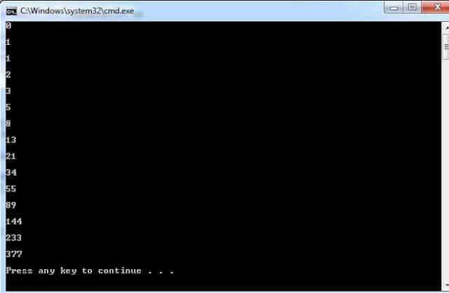 C# Program to Generate Fibonacci Series