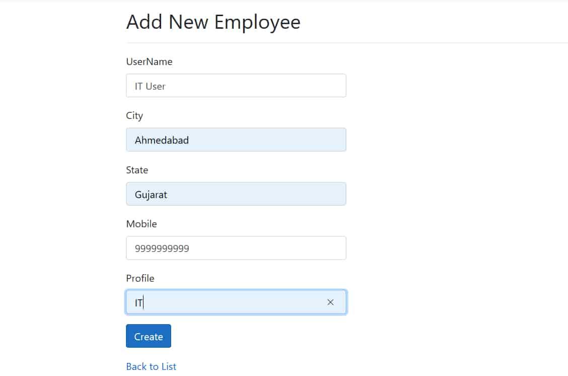 Asp.Net core add employee