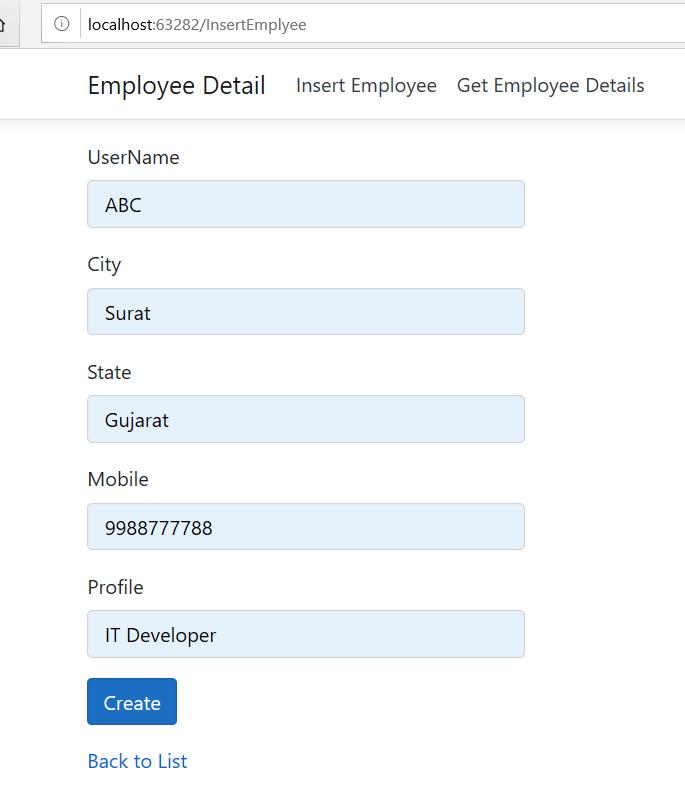 Asp.Net core insert operation