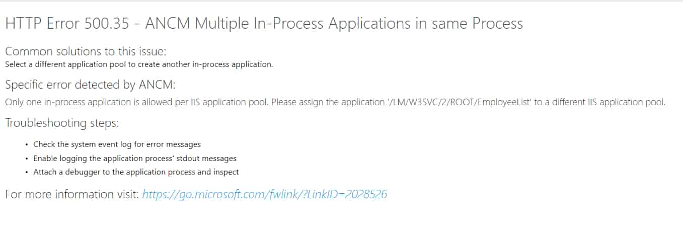 HTTP Error 500.35 - ANCM Multiple In-Process Applications in same Process